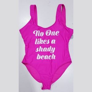 """Pink Graphic """"No one likes a Shady Beach One Suit"""